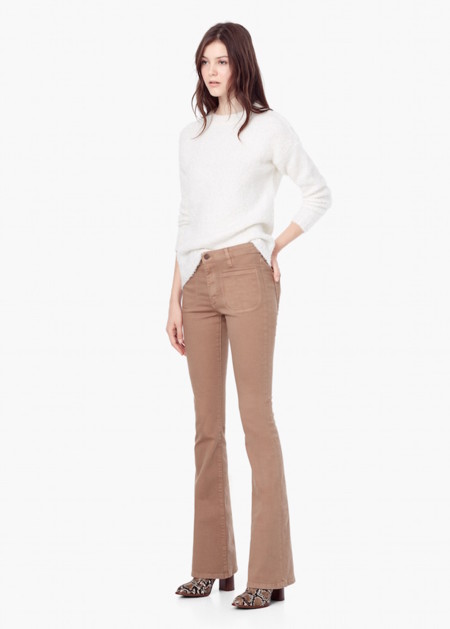 Pantalones Campana Mango Beige