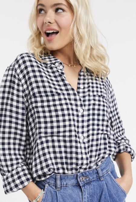 Camisa extragrande de manga larga con estampado de vichy de ASOS DESIGN