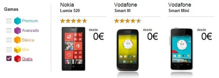 Gama smartphones gratis Vodafone