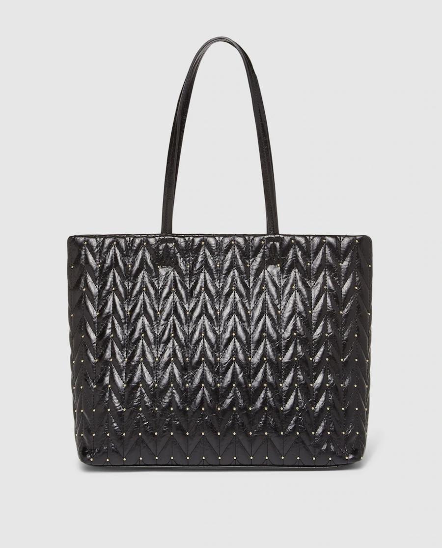 Bolso shopper El Corte Inglés con acolchado zigzag en negro