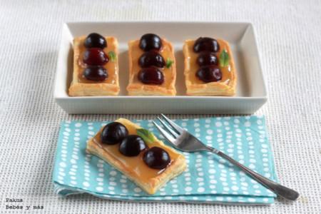 Pastelitos de lemmon curd y cerezas. Receta de postre