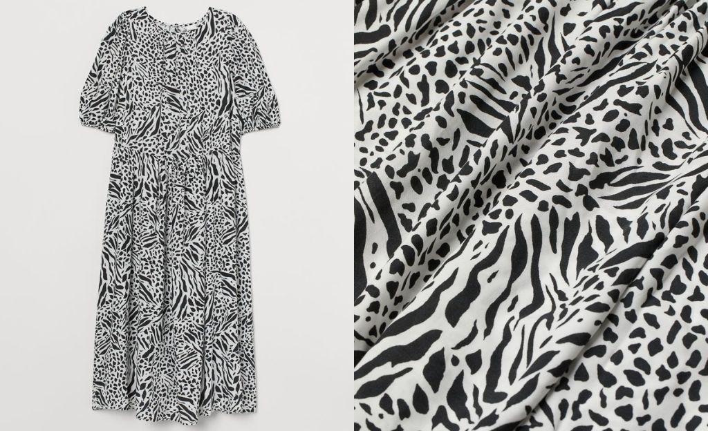 Vestido midi con estampado en blanco y negro