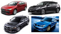 Vídeo de cinco Mitsubishi EVO y Subaru Impreza STI peleándose en un circuito japonés