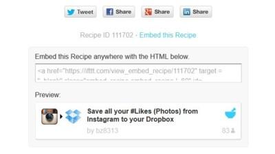 Inserta en tu web recetas de IFTTT por medio de un código