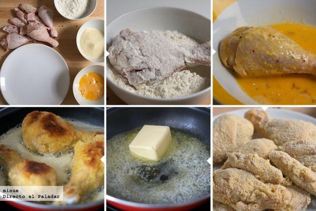 Pollo frito al estilo vienés - elaboración
