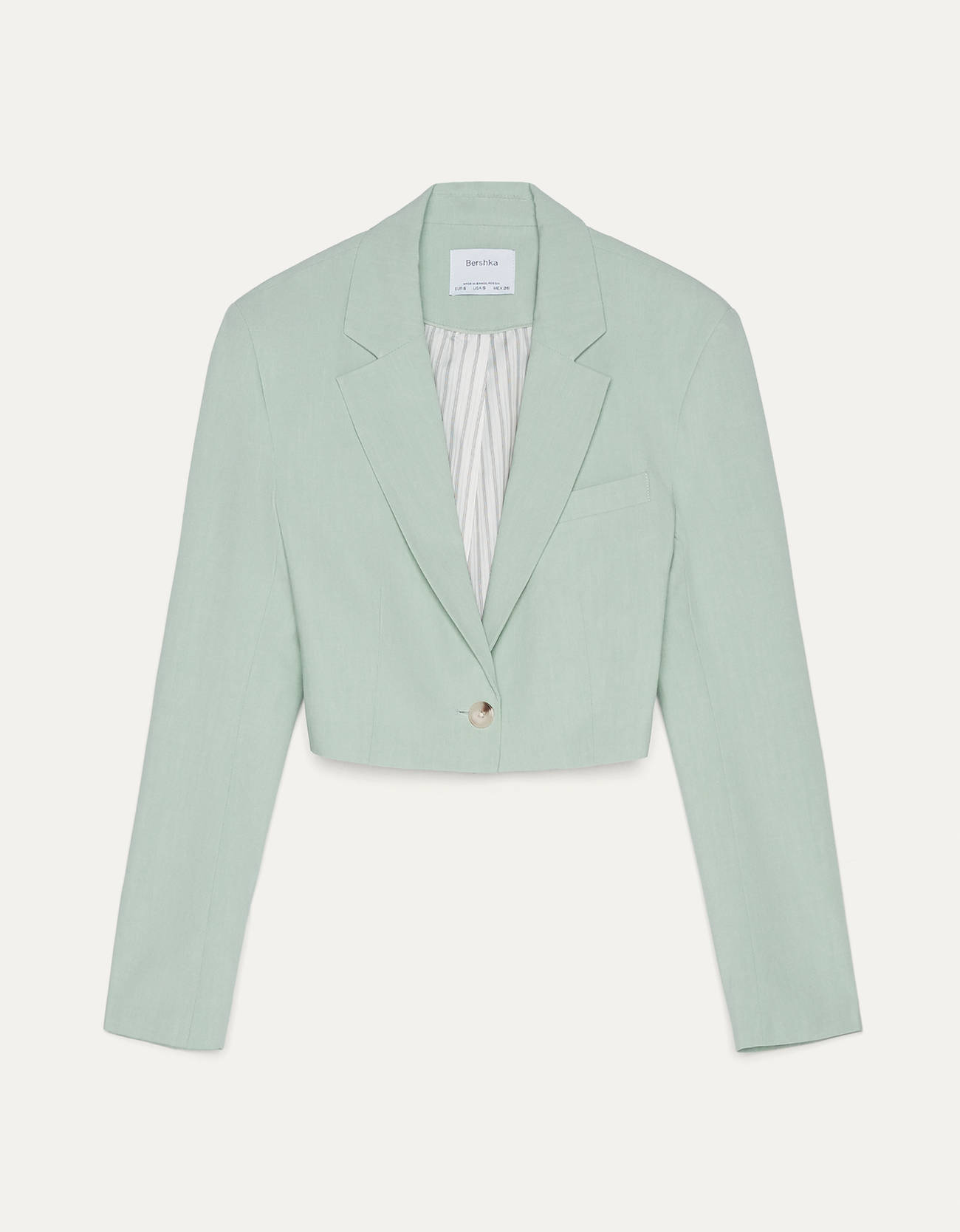 Blazer cropped de color verde mint.