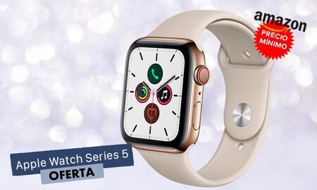 518 euros es el precio mínimo al que ha estado el Apple Watch Series 5 GPS+Celular de acero en dorado en Amazon y lo tienes ahora mismo por esa cantidad