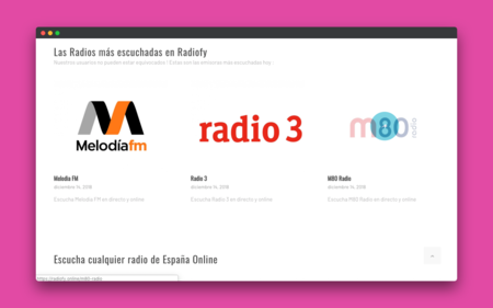 RadioFy, una web minimalista para escuchar todas las radios online españolas en un solo lugar