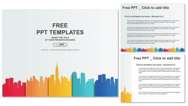 City Buildings Silhouettes And Colors Powerpoint Templates 4