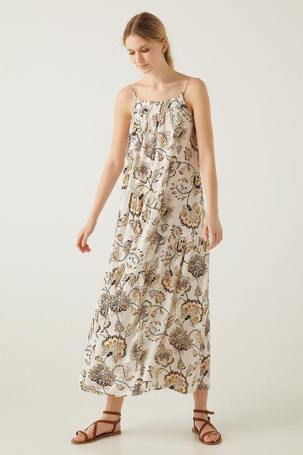 Vestido largo flor indiana lúrex