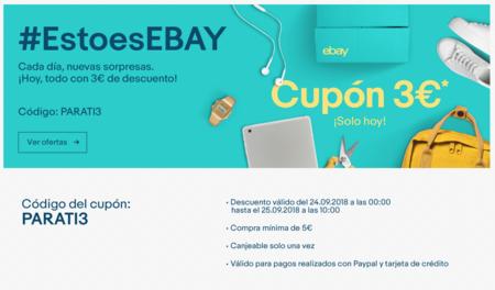 Descuento de 3 euros en eBay durante el día de hoy con este cupón