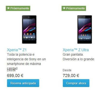 Precios Sony Xperia Z1 y Xperia Z Ultra