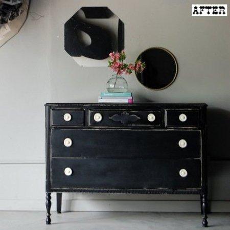 Cambiando muebles de color de blanco a negro - Como pintar un mueble en blanco ...