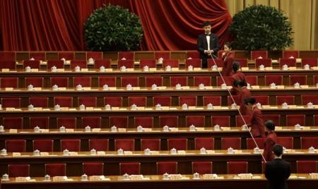 Por qué las tazas de té de las conferencias del Partido Comunista Chino están siempre alineadas
