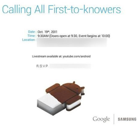 Nexus Prime y Ice Cream Sandwich, 19 de octubre es el día