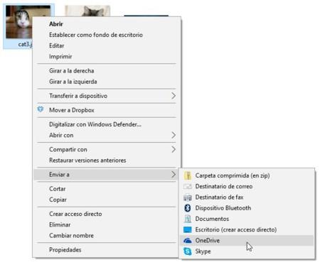 menú contextual de Windows