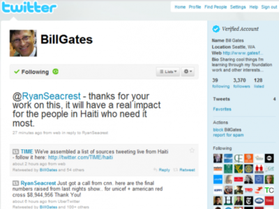 Bill Gates empieza a utilizar personalmente su cuenta de Twitter