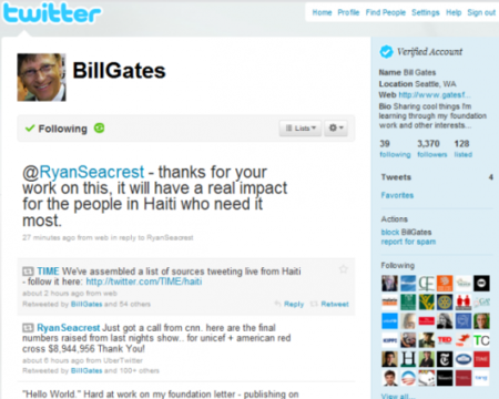 Bill Gates empieza a utilizar personalmente su cuenta de Twitter