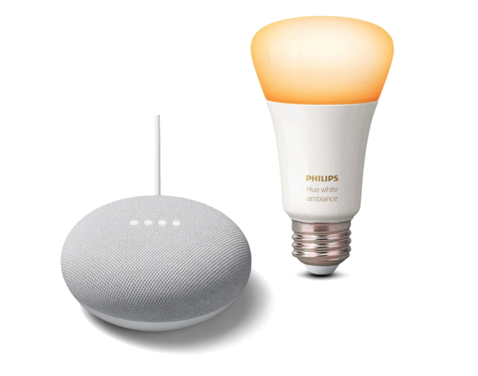 Altavoz inteligente Google Nest Mini (Tiza o Carbón) + Bombilla inteligente Philips Hue E27