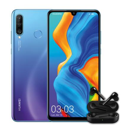 05c84082666 Huawei P30 Lite 4GB + 128GB azul + Auriculares FreeBuds por 289,16 euros,  la versión más ligera de la familia P30, destaca por su diseño y su triple  cámara.