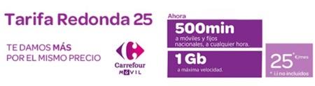 Carrefour móvil mejora su tarifa Redonda con 500 minutos y 1GB