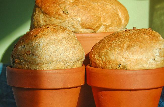 Uso de maceteros para hornear pan