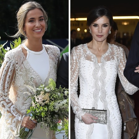 Encuentra las 7 diferencias entre el vestido de novia de María Pombo en su boda y este que llevó Letizia en su viaje oficial a Marruecos