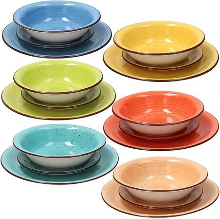 Tognana Art Pepper Stoneware Vajilla De 18 Piezas Multicolor