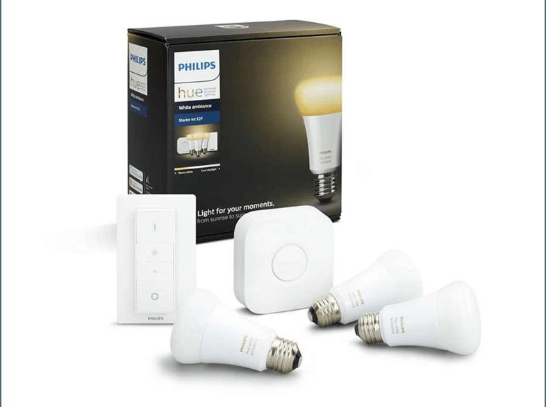 Kit 3 bombillas LED inteligentes E27, Puente y mando Philips Hue