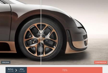 Compressor.io, ejemplo de compresión imagen de Bugatti
