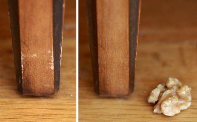 Un mueble antes y después de ser tratado con la nuez