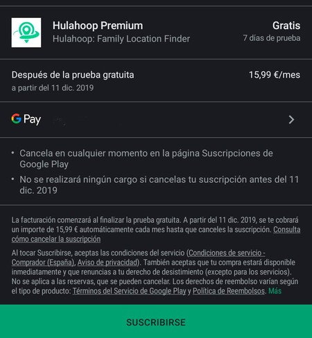 Suscripción Google Play