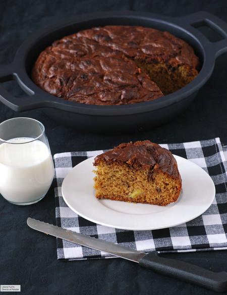 Receta de bizcocho de plátano y crema de chocolate para hacer en cazuela