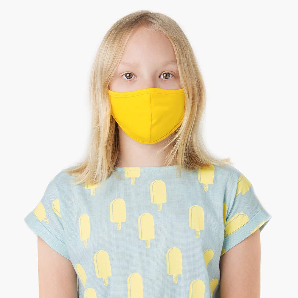 KUMUNDO - Mascarilla higiénica reutilizable - Colección Niños de 7 a 12 años (Liso Amarillo)