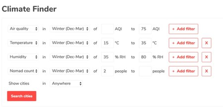 Window Y Climate Finder Pick Temperature And Air Quality And Find Places That Match Product Hunt