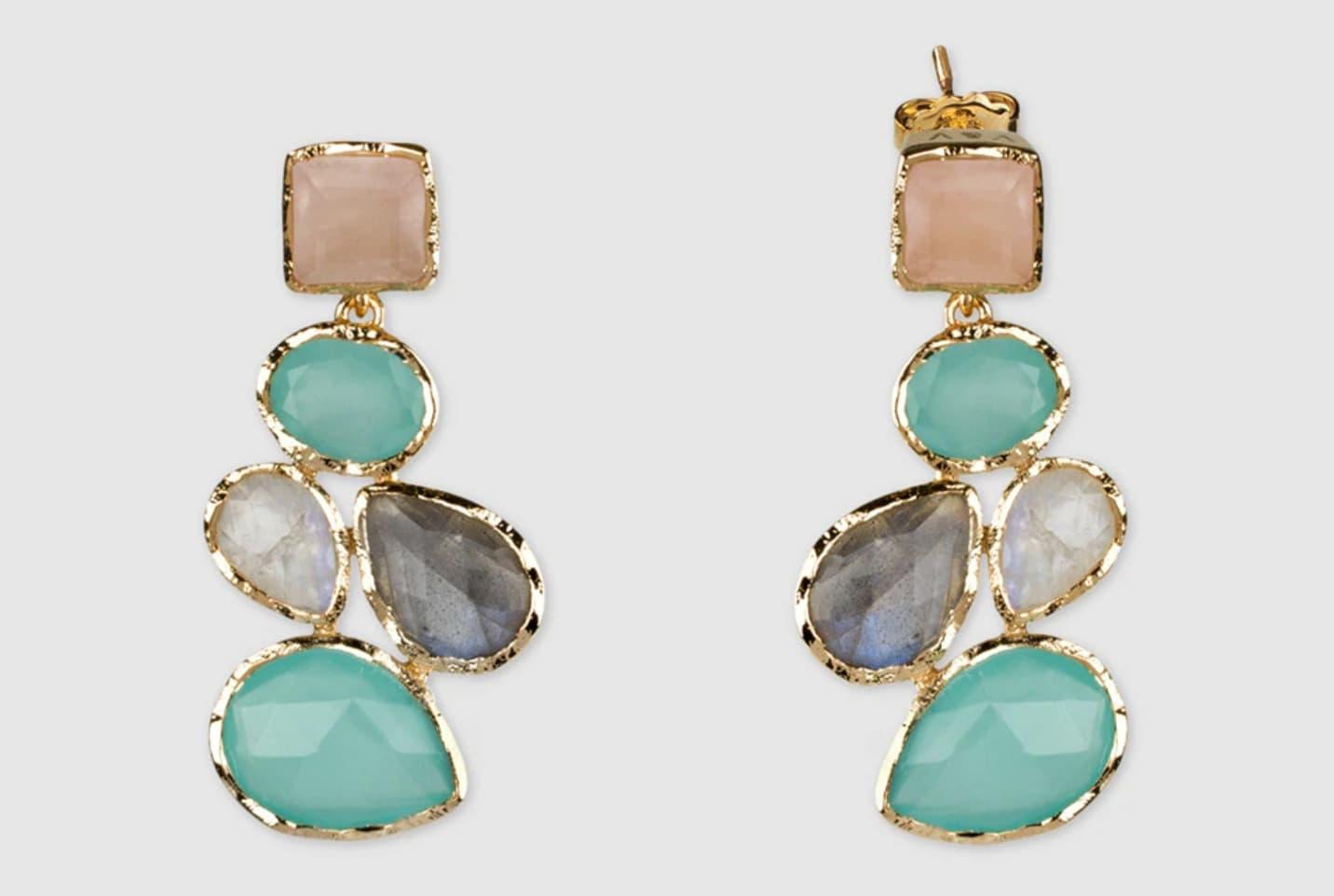 Pendientes Vidal & Vidal Ready To Wear dorados con piedras multicolor