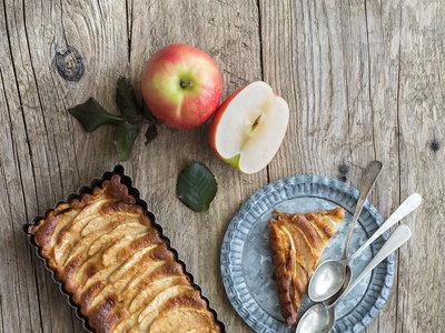 Tarta fina de manzana y chocolate blanco. Receta