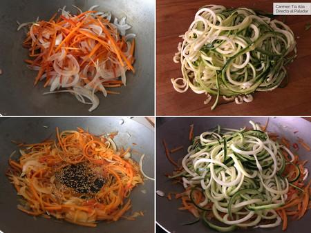 Wok De Fideos De Calabacin Con Verduras Paso A Paso