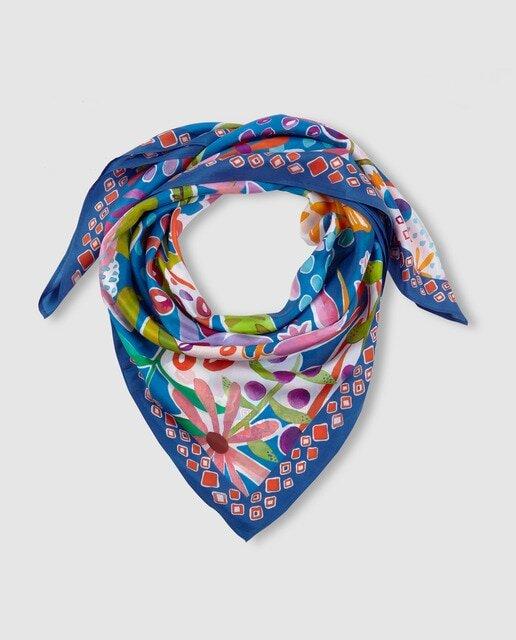 Pañuelo El Corte Inglés de seda en azul marino con print floral