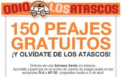 OdioLosAtascos sortea 150 peajes gratuitos