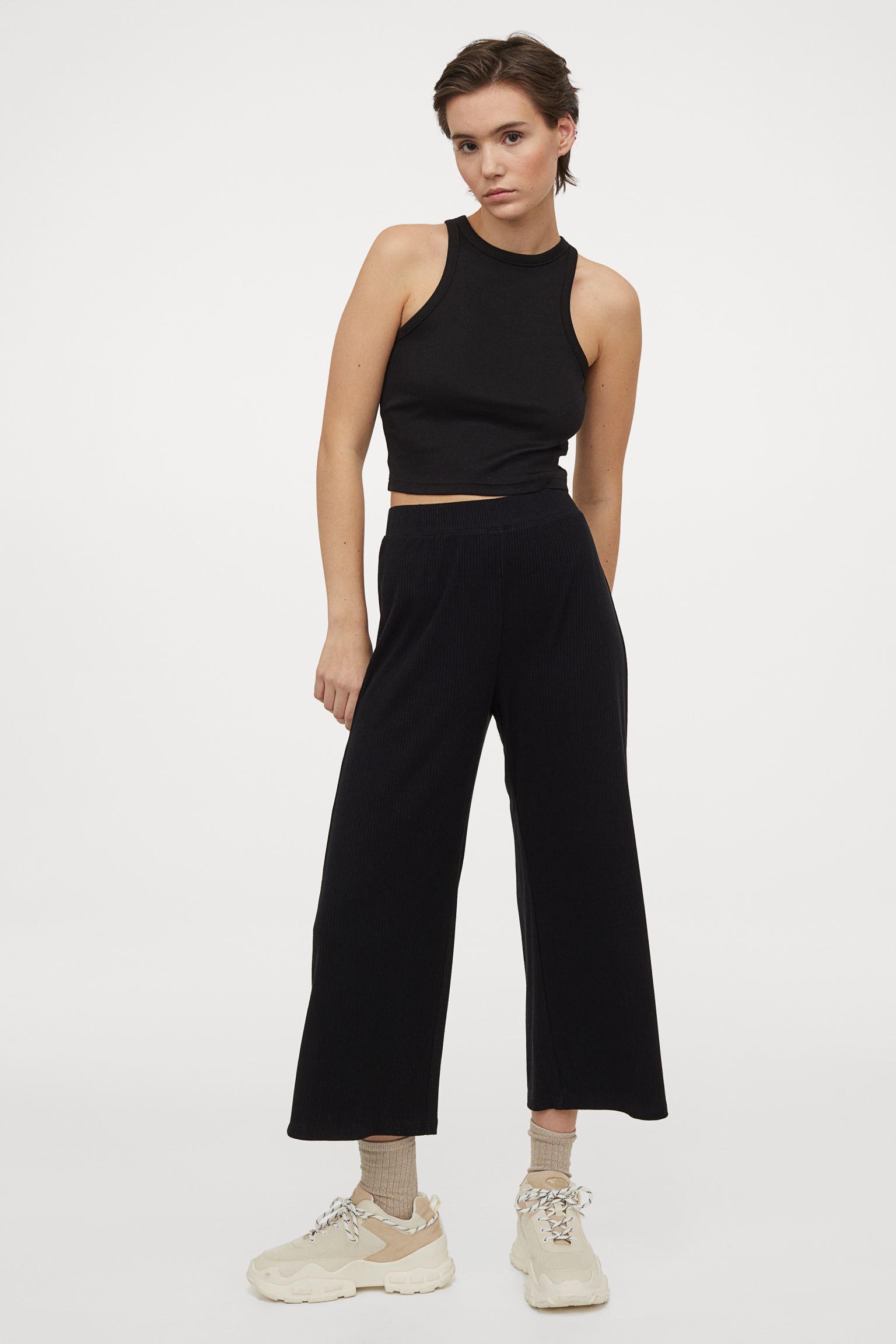 Culottes de canalé con cintura elástica
