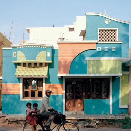 Bellas casas de colores al sur de la India Tirunamavalai