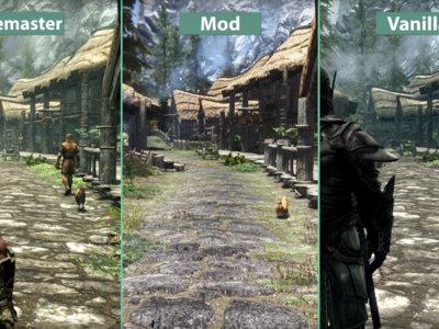 Compara tú mismo el aspecto de Skyrim en su versión original, con mods y su remasterización