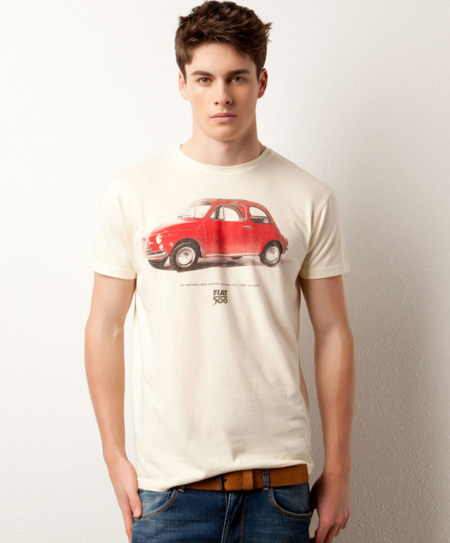 Camiseta Pull and Bear Fiat 500 blanca