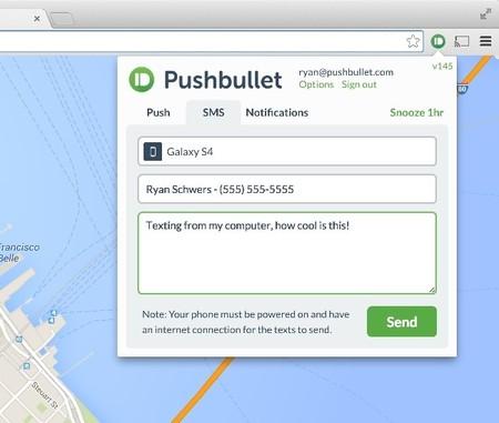 Pushbullet brinca a la versión 15.1.1, ahora permite mandar SMS desde la computadora