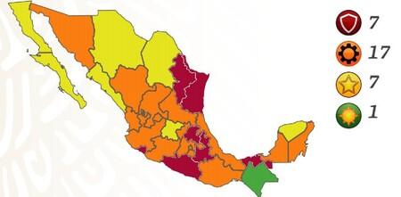 México se estanca en rojos y naranjas en el semáforo de COVID: ya son 17 los estados naranjas y siete en color rojo