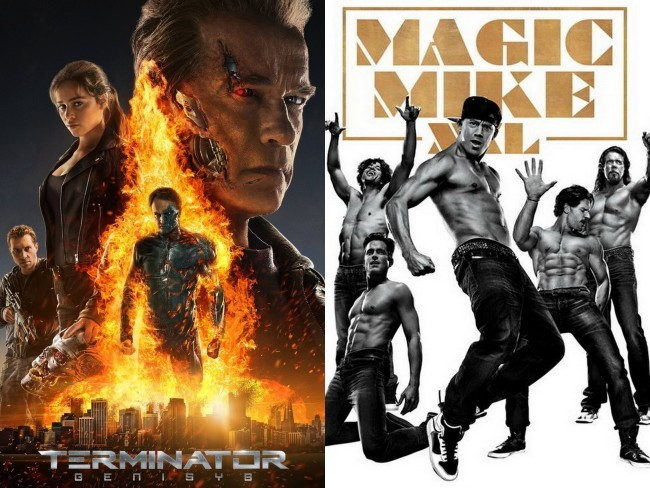 Carteles de Terminator Génesis y Magic Mike XXL