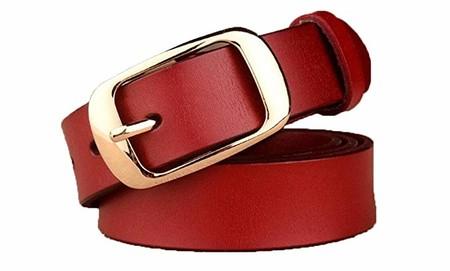 Cliont mujeres cinturón de vestir cinturón de cuero genuino con oro y negro hebilla pin 2.9cm de ancho