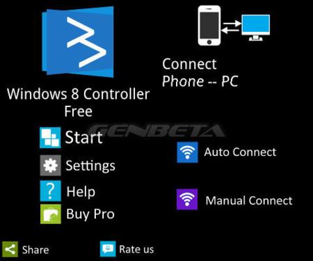 Primeras pantallas de Windows 8 Controller, versión Android
