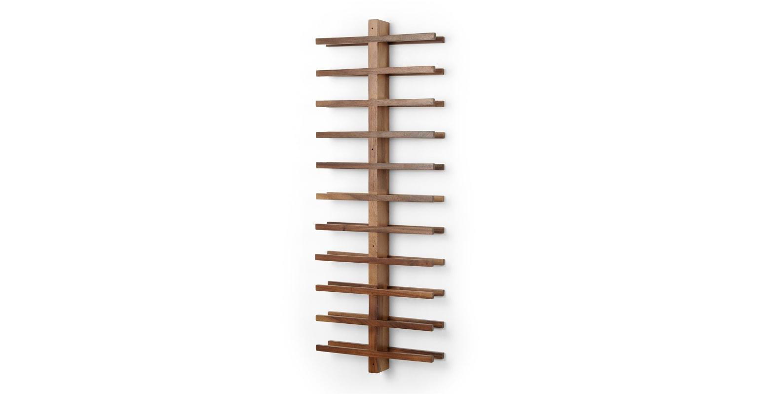 Botellero de madera de acacia para 22 unidades de montaje en pared Clover, natural